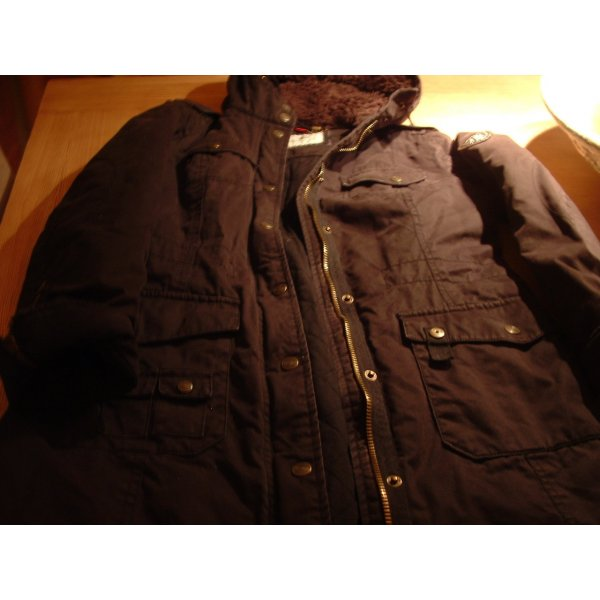 Esprit Manteau à capuche noir coton