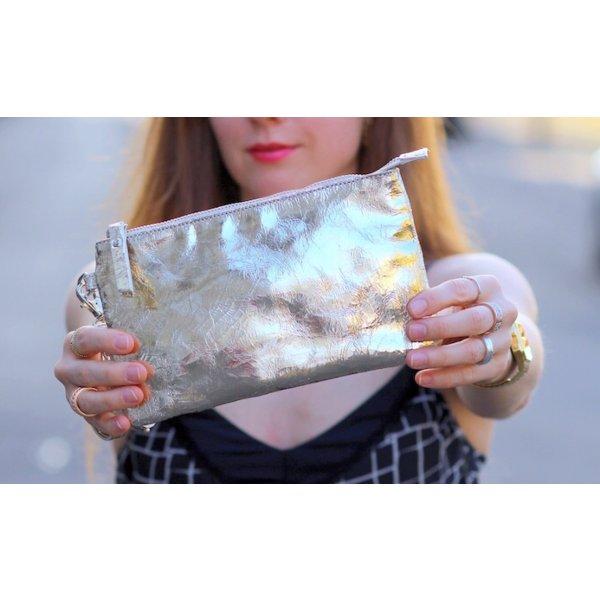 Party Designer Leder Clutch Tasche gold von Minx by Eva Lutz Neu mit Etikett