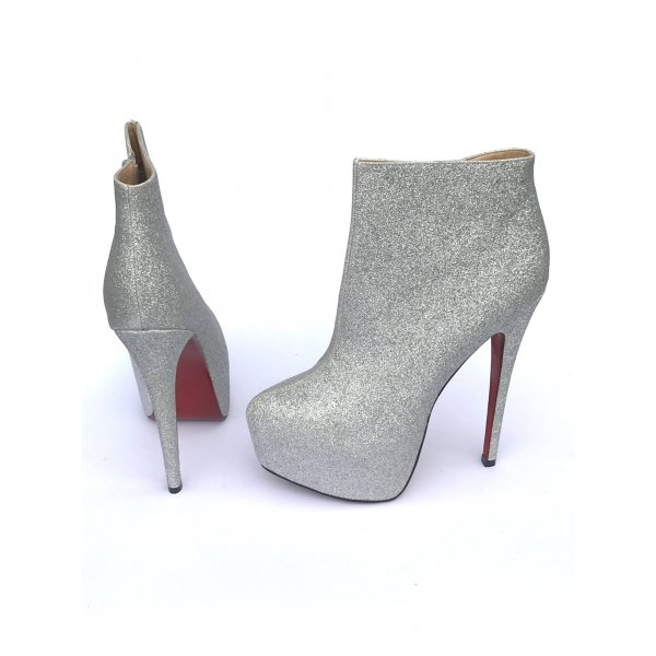 Party High heels Plateau Sexy Gogo Fetisch Gr 40 silber Glitzer Silvester Stiefel