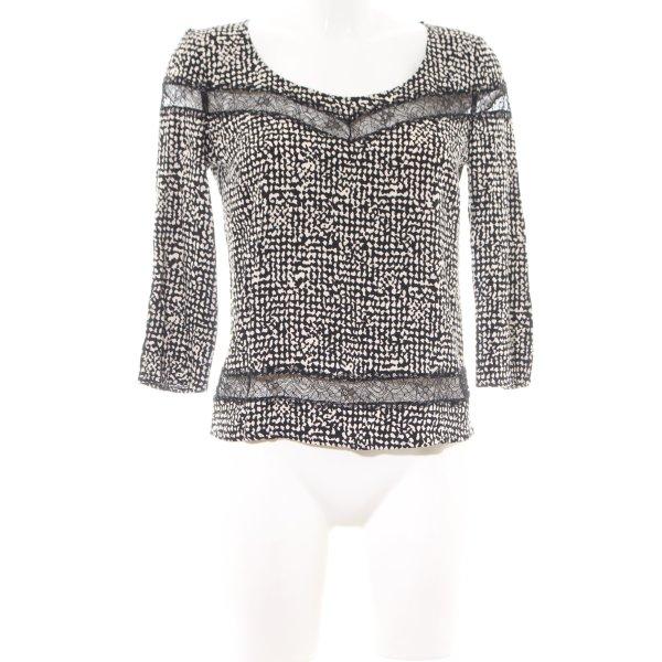 Patricia Pepe Schlupf-Bluse schwarz-weiß abstraktes Muster Elegant