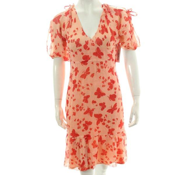 Paul & Joe A-Linien Kleid lachs-hellrot Motivdruck klassischer Stil