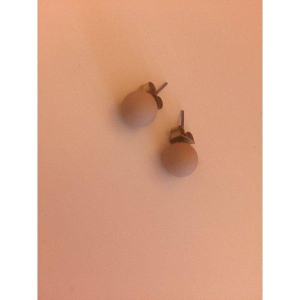 Perlen Ohrringe Stecker matt nude