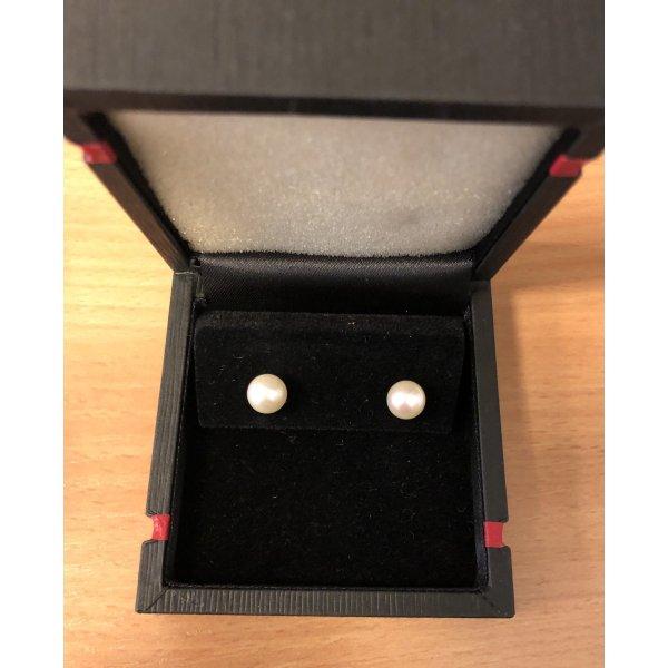 Perlenohrringe 585 14ct Weißgold mit Zertifikat