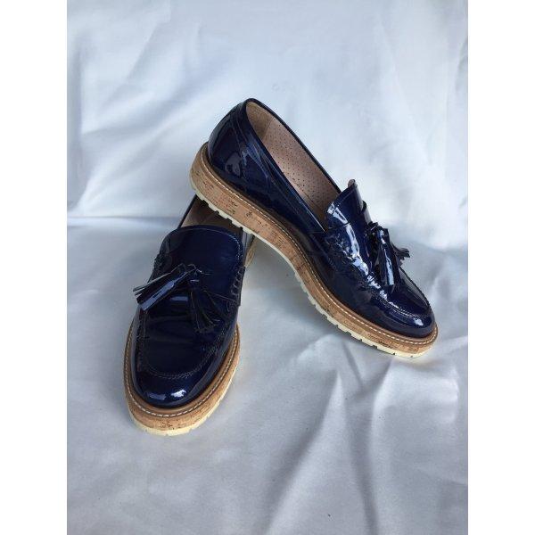Pertini echt Leder gr 39 blau Lack Halb Schuhe