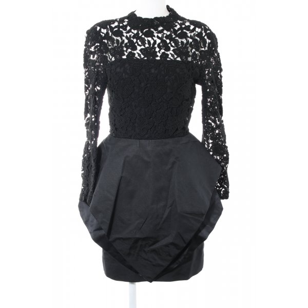 Peter Keppler Spitzenkleid schwarz Blumenmuster Elegant