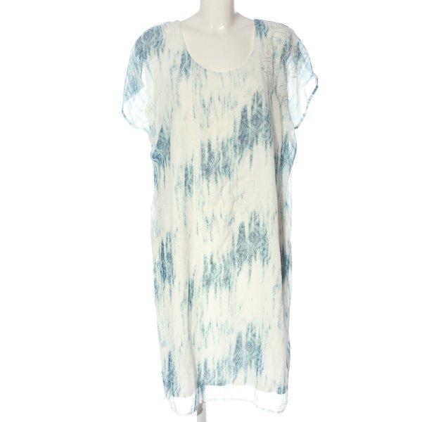 Pfeffinger Midikleid wollweiß-blau abstraktes Muster Casual-Look