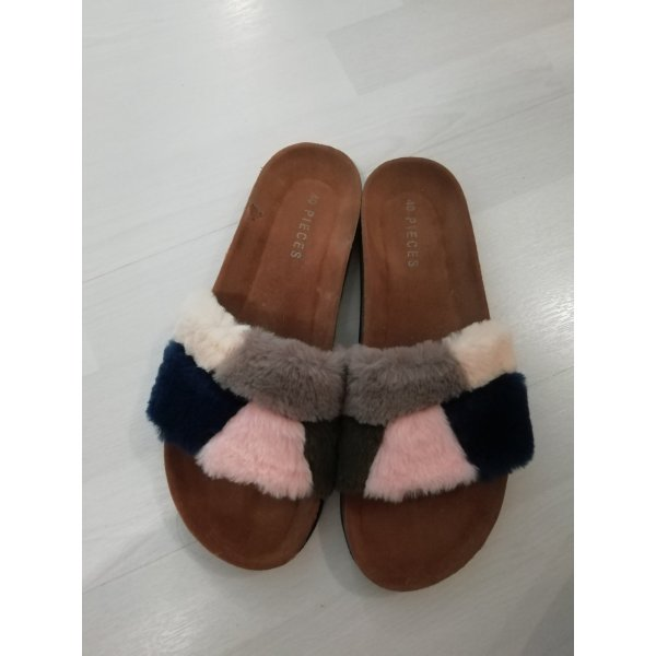 Pieces Sandalen Fake Fur Fell Pelz 40