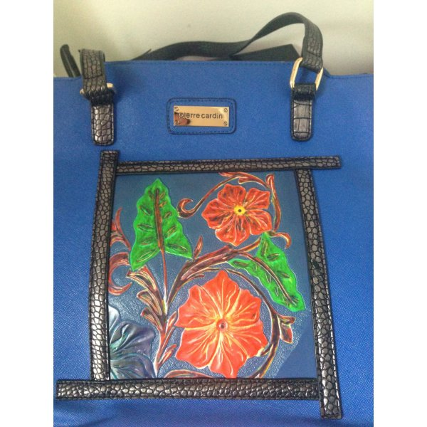 Pierre Cardin Premium Dunkelblau Tasche limited edition Blumen 29x32x14