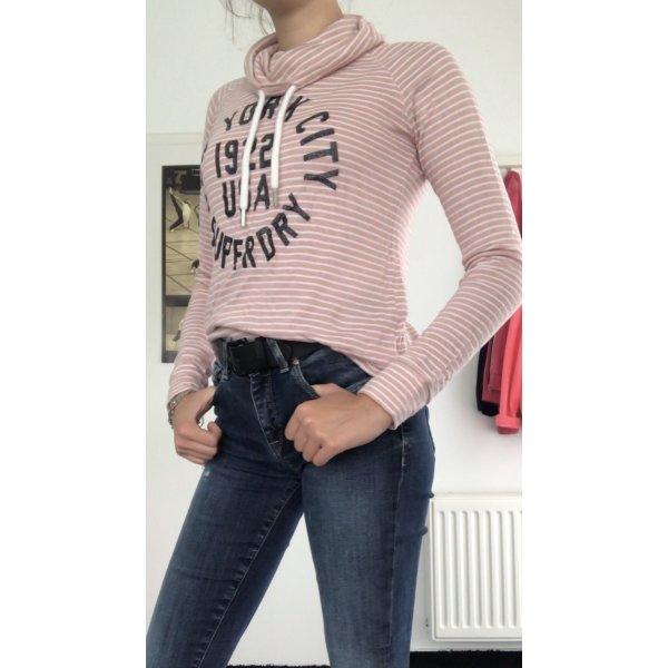 Pink-Weiß gestreifter Pullover von Superdry in S