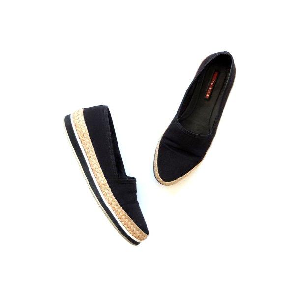Plateau Espandrillen Prada Slipper Schuhe Gr. 39 schwarz Loafers