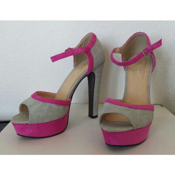 Belle Women Sandalias de tacón con plataforma gris claro-rosa