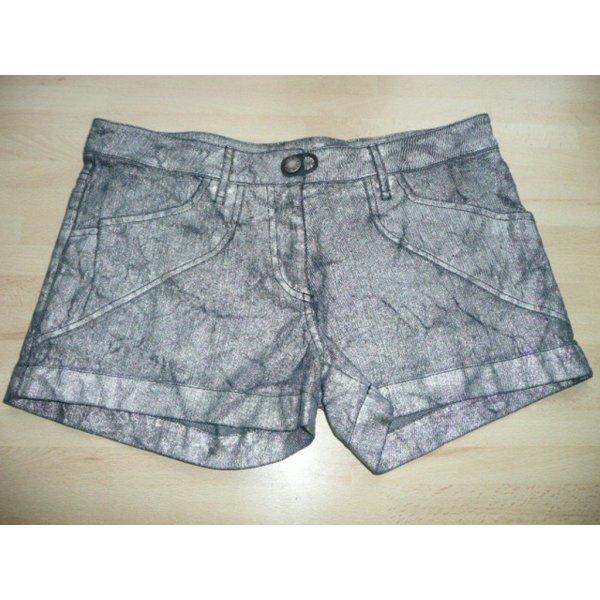 Plein Sud Denim Jeans Shorts Hot Pants Schwarz Silber Metallic m Knitter Effekt Gr 36
