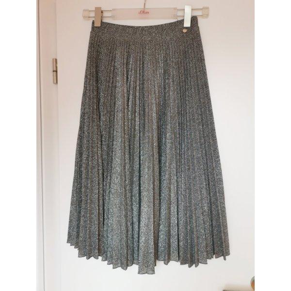 Rich & Royal Plisowana spódnica srebrny Tkanina z mieszanych włókien