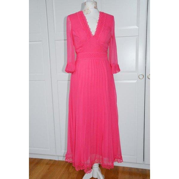 Plissiertes pink farbenes Midikleid Kleid mit Spitzeneinsätzen Gr. 34