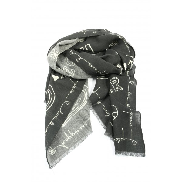 Plomo o plata Summer Scarf light grey-white printed lettering casual look