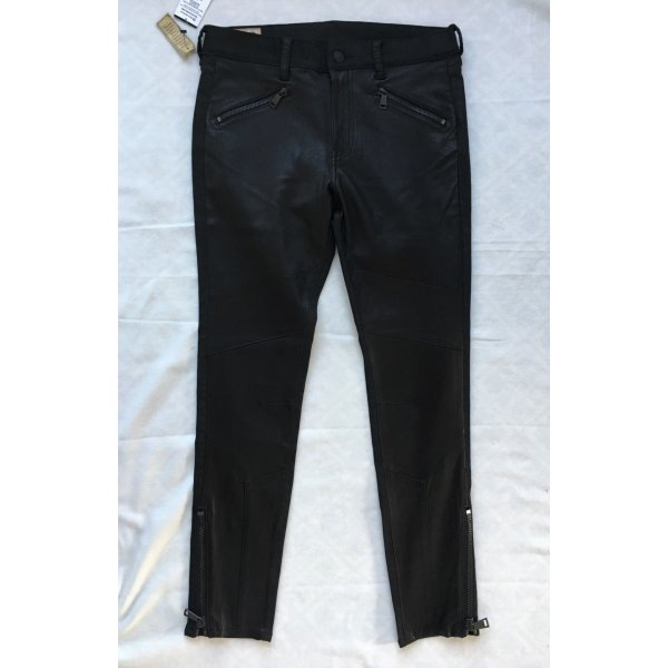 Polo Ralph Lauren, Biker-Hose, 38/40 (W 29), schwarz, Leder/Baumwolle, neu, € 950,-