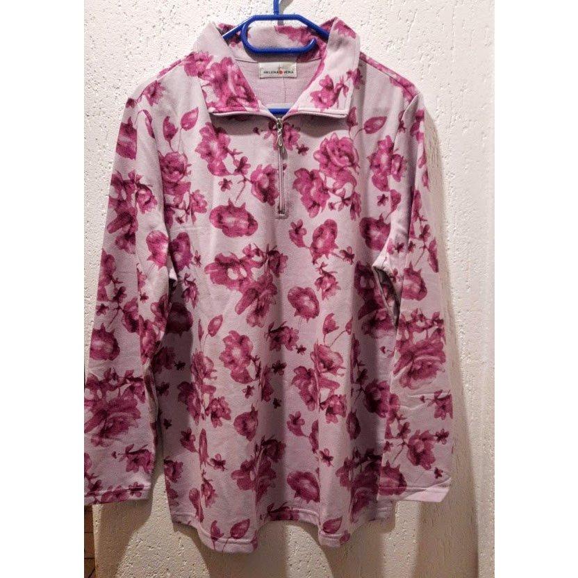 """Polo-Sweatshirt mit lila Blumenmuster von """"Helena Vera"""", Gr. 46"""