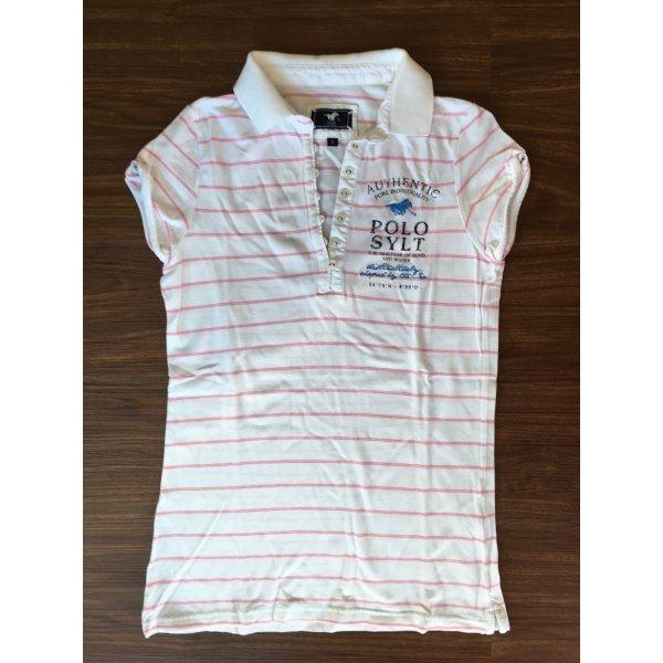Polo Sylt Poloshirt weiß pink gestreift Casual-Look