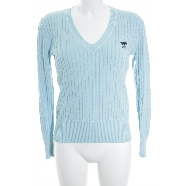 Polo sylt V-Ausschnitt-Pullover babyblau Zopfmuster Casual-Look