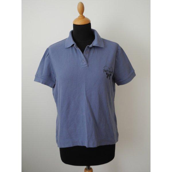 Poloshirt Shirt Polo Baumwolle  Cotton Elasthan Stretch just Roberto cavalli rauchblau blau Stickerei Logo Ton in ton