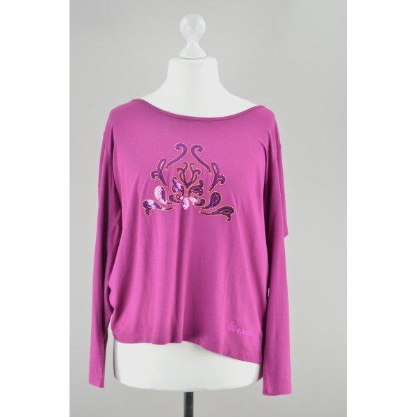 Pompöös Harald Glöckler Shirt langärmlig mit Pailletten pink Größe 46