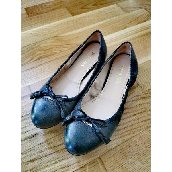 Prada Damenschuhe neuwertig tiefes dunkelgrün 36.5 retro Ballerina Rund Kappe mit süß Schleife