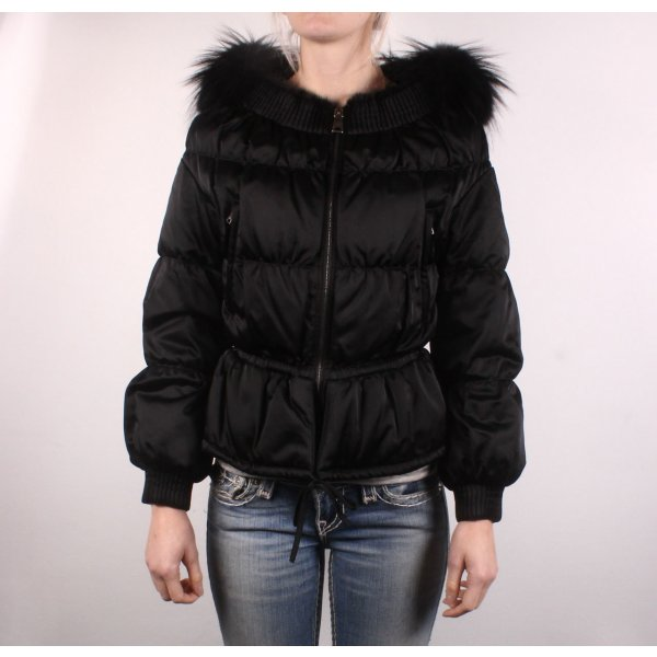 Prada Daunenjacke schwarz mit Schößchen und schwarzem Pelz Gr 36 S