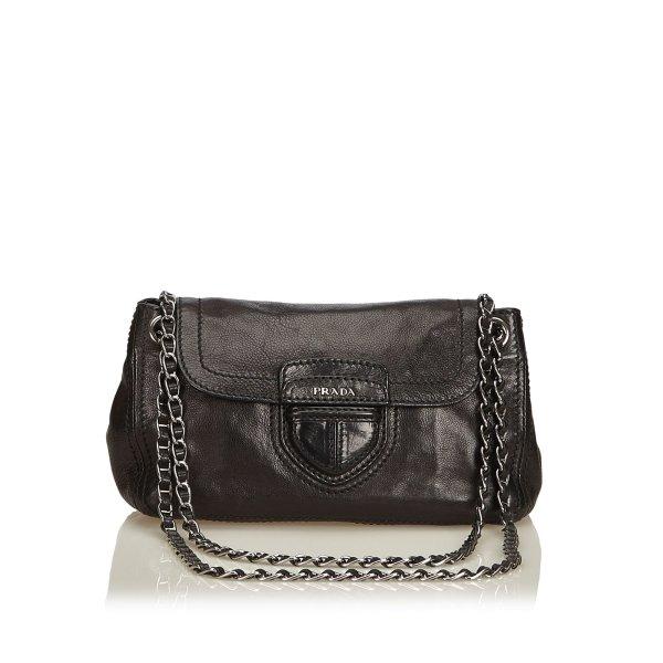 Prada Leather Flap Chain Shoulder Bag