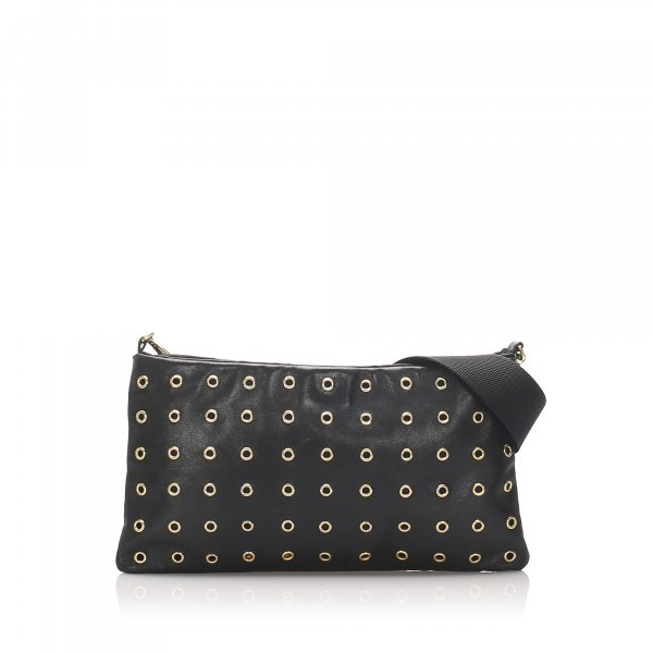 Prada Leather Grommet Crossbody Bag