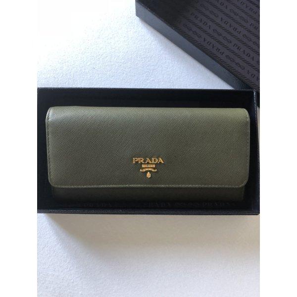 Prada Portemonnaie Geldbörse Khaki Gold Wallet von Prada Grün