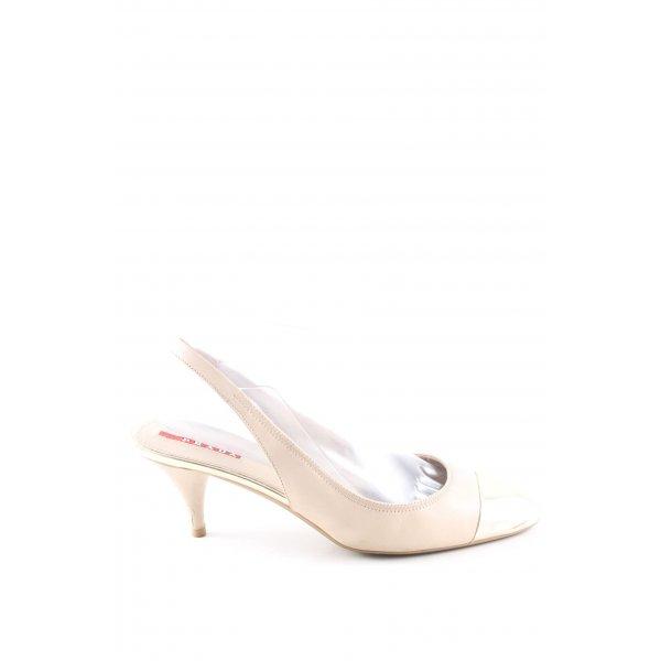 Prada Riemchen Ballerinas creme-goldfarben Business-Look