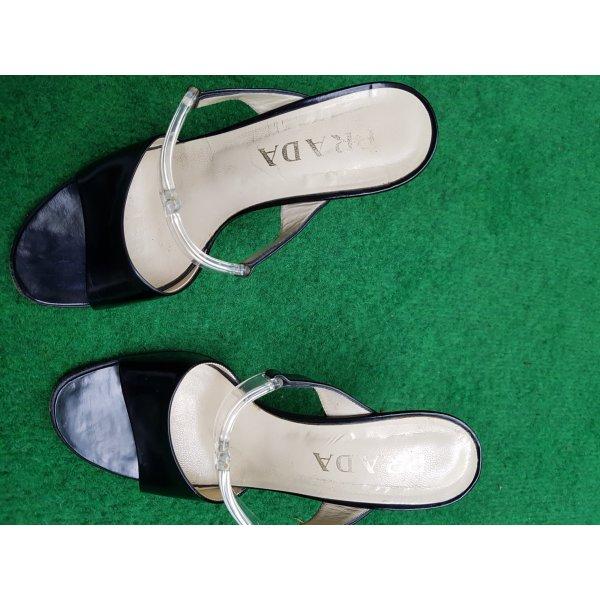 Prada Sandalo nero-bianco Pelle