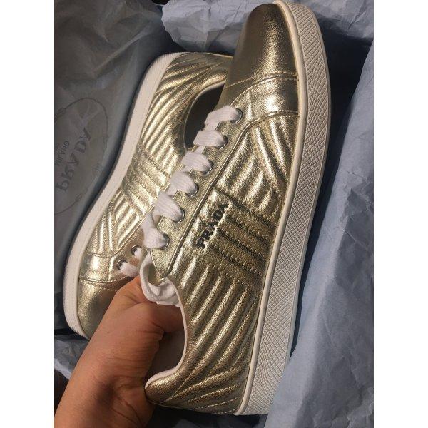 Prada Sneaker New 39,5 Gold Metallic Soft Leather