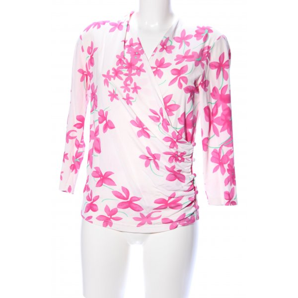 Prestige Elegance V-Neck Shirt cream-pink flower pattern casual look