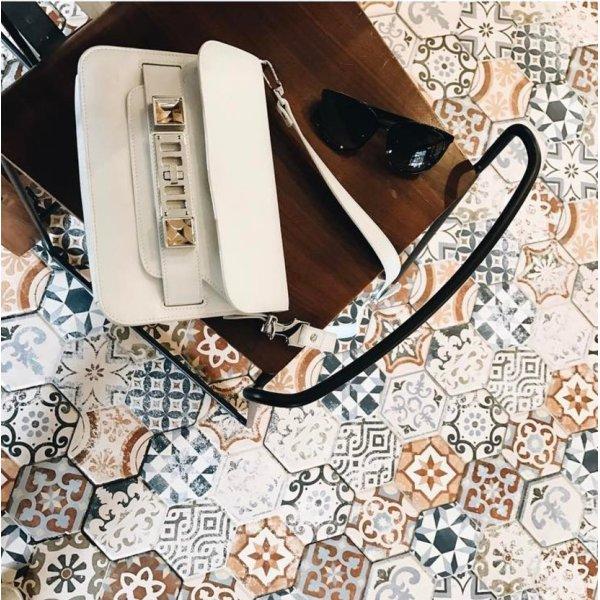 Proenza Schouler PS11 Tasche weiß Schultertasche PS1 Ledertasche
