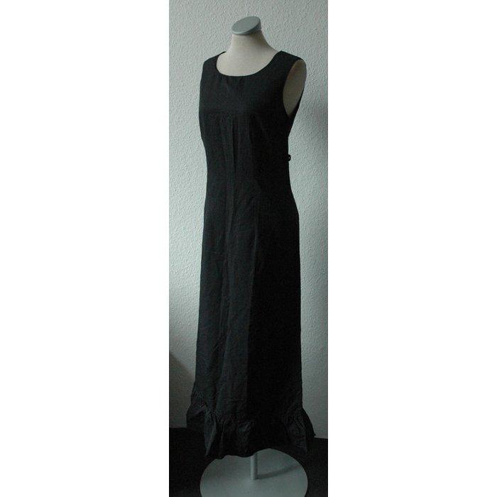 Promod Kleid lang schwarz Etuikleid gerüscht Gr. 36 S gothic