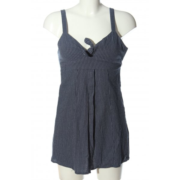 Pull & Bear Trägerkleid blau-weiß Allover-Druck Casual-Look