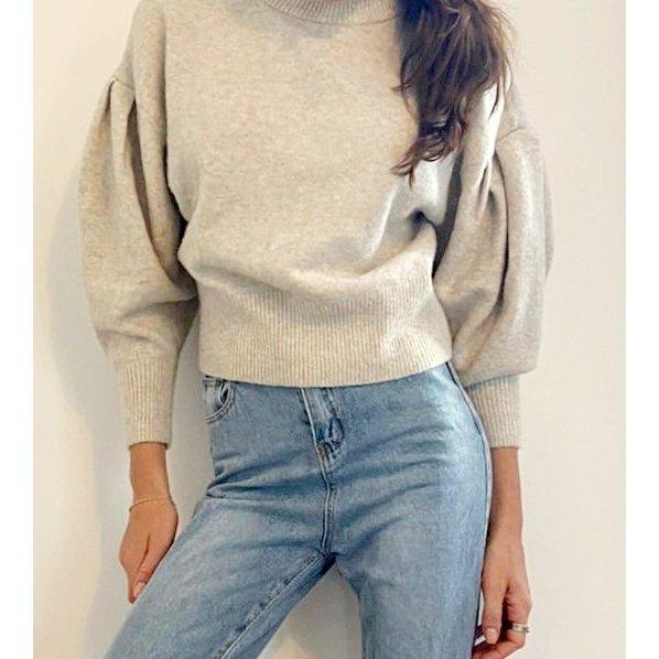 Pullover kurzpullover cropped wollpullover hammelkeulenärmel puffärmel