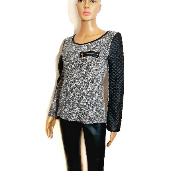 Jersey de cuello redondo blanco-negro Imitación de cuero