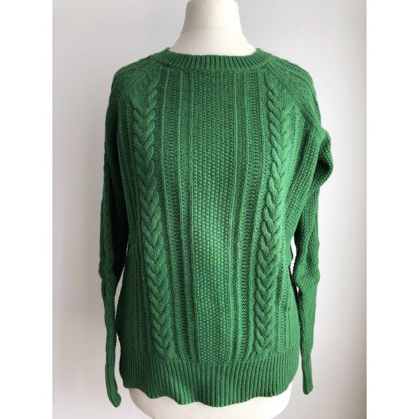 Pullover mit Zopfmuster | Grün