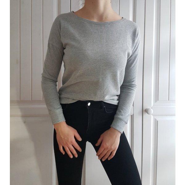 Pullover Pulli Crop cropped Croppulli Grau grey sweater Hoodie silber silver glitzer XS 34 32