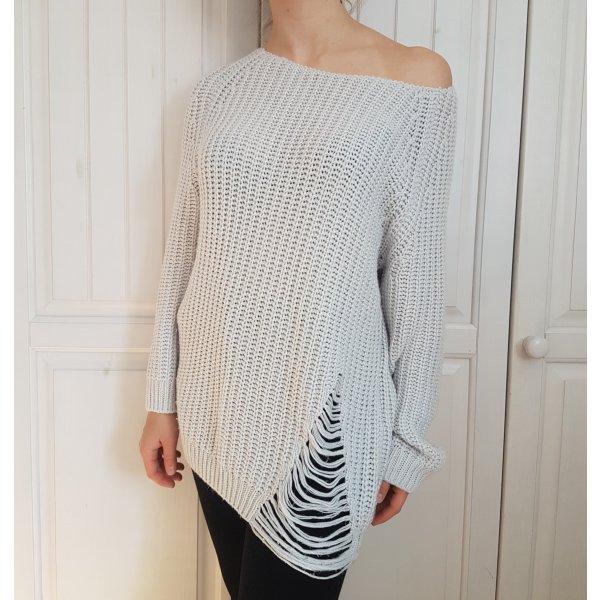 Pullover Pulli Ripped Destroyed Grau Grey White Weiß Strick Strickpullover Sweater
