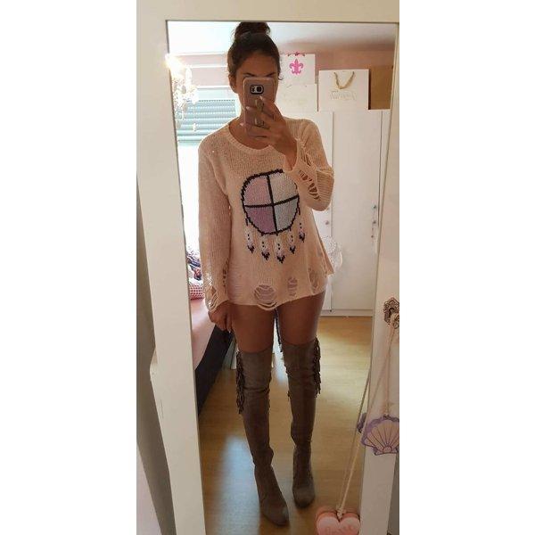 Pullover S Wildfox orig Traumfänger Federn nude rosa blogger hipster boho Löcher