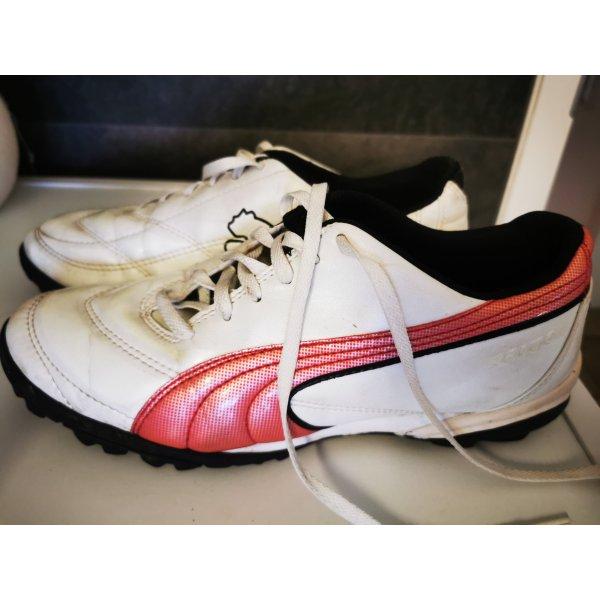 Puma Sneaker Sportschuhe weiß rot Gr 40  Leder
