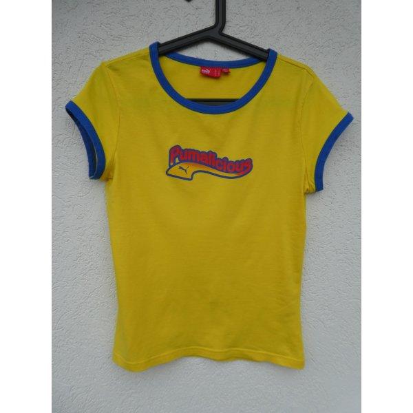Puma  – T-Shirt, gelb mit Aufdruck - Gebraucht, fast wie neu