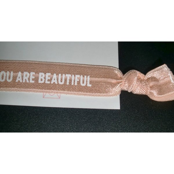Purelei Blogger Armband Band mit Schrift YOU ARE BEAUTIFULL Band zu Knoten apricot NEU Stretch one size