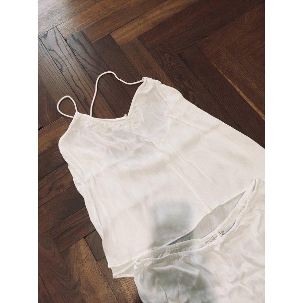 Pyjama Schlafanzug kurz Sommer ZARA home weiß Gr. M Shortie