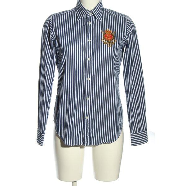 Ralph Lauren Sport Langarmhemd blau-weiß Schriftzug gestickt Casual-Look