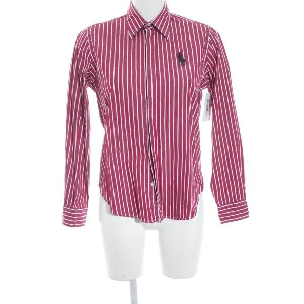 Ralph Lauren Sport Langarmhemd dunkelrot-weiß Streifenmuster Casual-Look