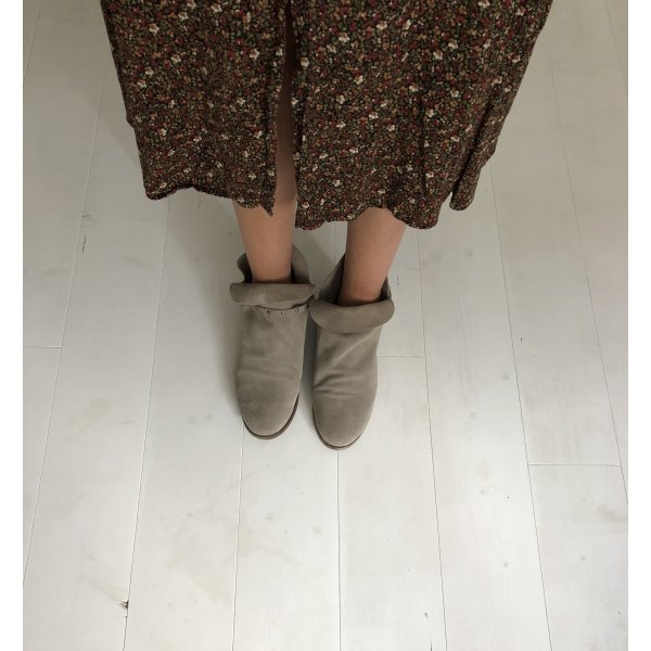 Rauleder Sommer Leder Boots Stiefeletten Nieten taupe beige Gr. 39